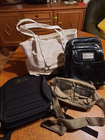 Plecak czarny lakierowany torebka biała i khaki