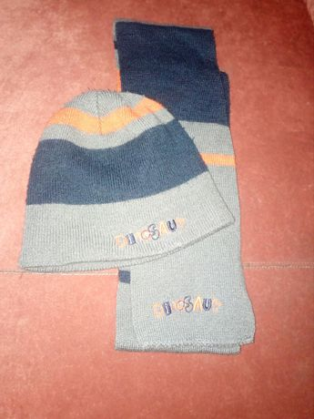 Czapka, szalik i rękawiczki, komplet zimowy dla chłopca