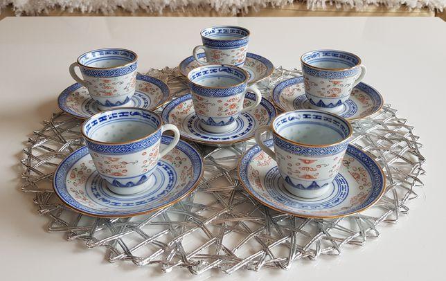 Komplet 6 dekoracyjnych filizanek ze spodkami z chińskiej porcelany