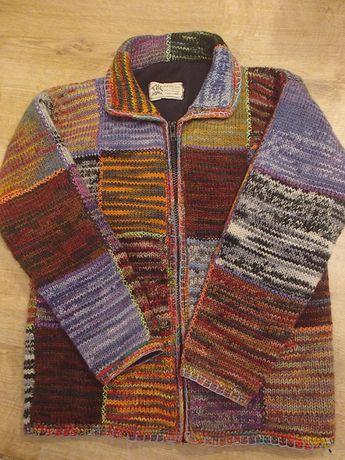 unikatowa kurtka sweter wełna 100% wool