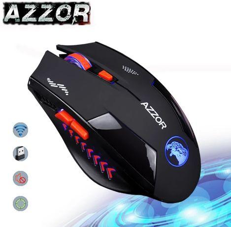 AZZOR Игровая Бесшумная Беспроводная мышь со встроенным аккумом 2400/