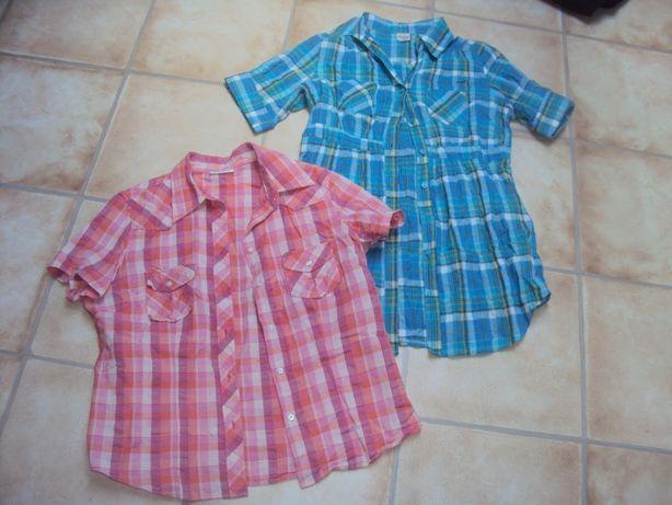 Koszula w kratę dwie za 20 zł długa niebieska rózowa 40/42 l/xl