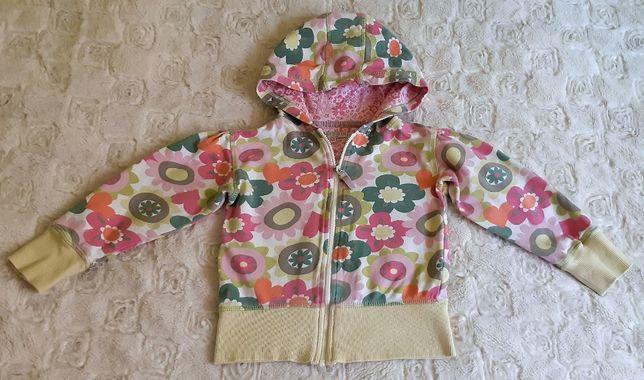 Bluza bawełniana z kapturem w kwiaty, dziewczęca, r. 3-4 lata