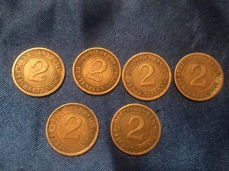 Monety 2 Pfennig Cesarstwo Niemcy Szt.6 1924r.-1936r.