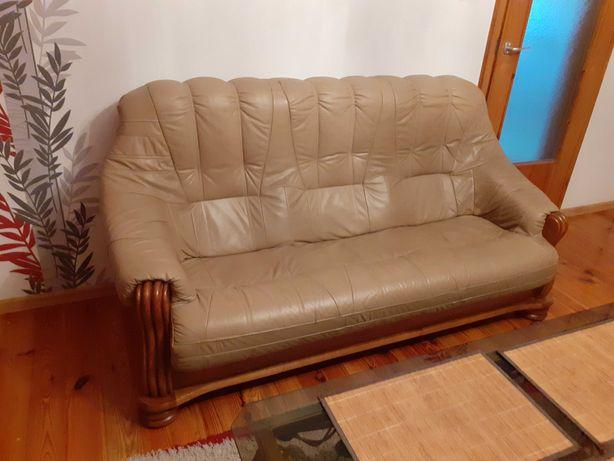 Zestaw wypoczynkowy skóra i dąb kanapa + 2 fotele