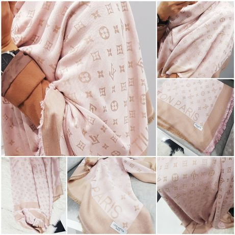 Piękny szał chusta beż pudrowy róż monogram Louis vuitton 140x140