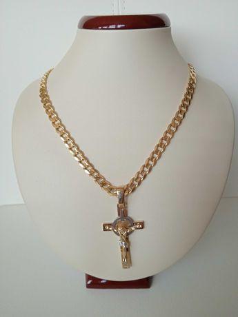 Łańcuszek łańcuch złoty 585 Pancerka krzyżyk złoty.215zł/1gr.