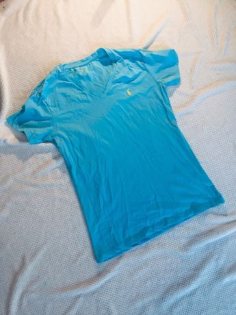 Polo Ralph Lauren niebieski T-shirt V neck 40 L