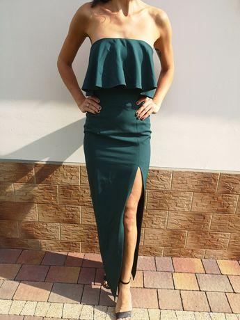 Śliczna długa sukienka hiszpanka butelkowa zieleń maxi suknia hit