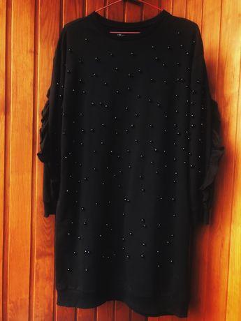 Платье оверсайз черное с жемчужинами резервед
