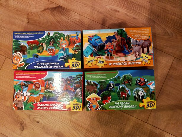 Wysyłka 5 zł Puzzle 3D zestaw 4 rodzaje