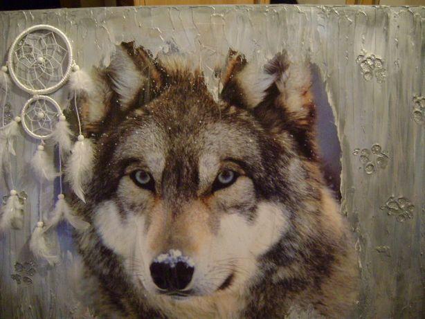 Obraz Wilk w stylu decoupage