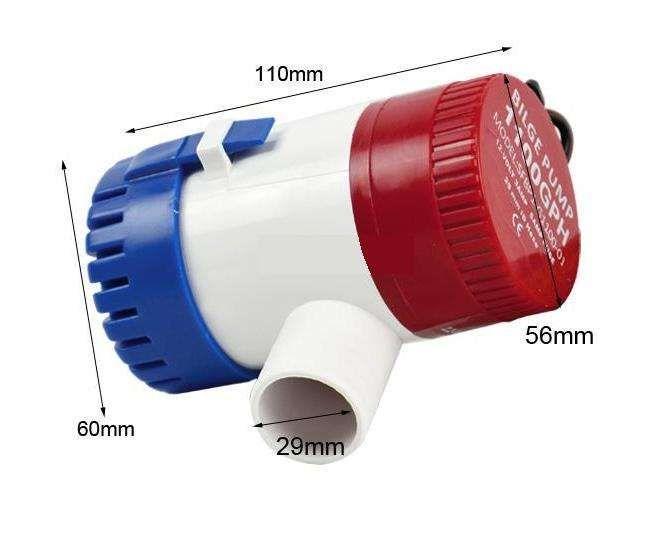 Bomba de agua submersível 12V 4070litros/Hora - alto caudal / Barco