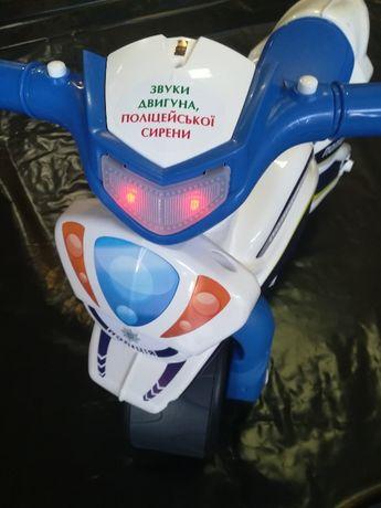 Мотобайк DOLONI свет,звук,двойные колеса,высокий руль.Для детей1-4лет