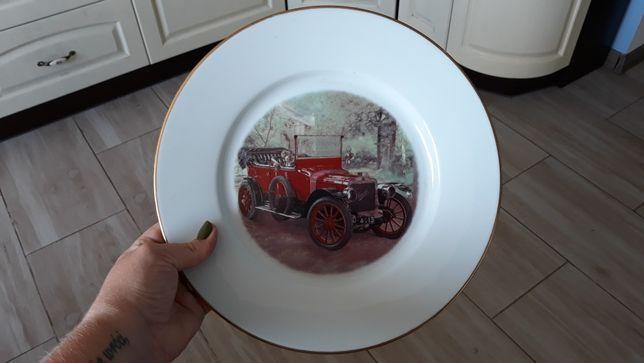 Ładny francuski talerz z motywem samochodu samochód polecam Limoges