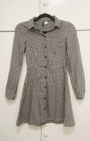 H&M sukienka w drobną kratkę wzór gingham rozm. XS 34