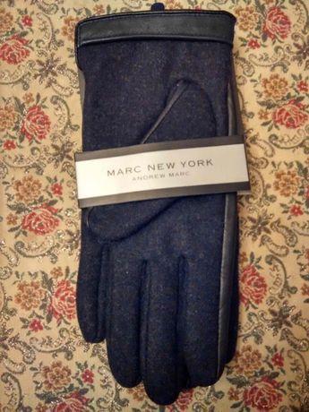 Мужские перчатки Andrew Marc войлок+кожа, L