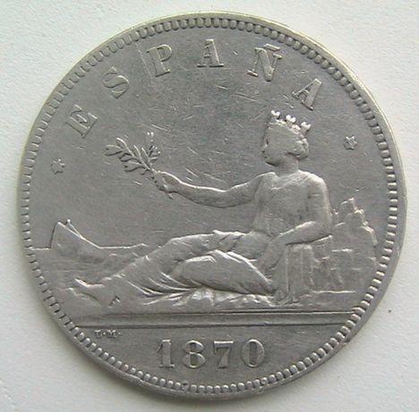 Испания 5 песет 1870 Временное правительство Серебро