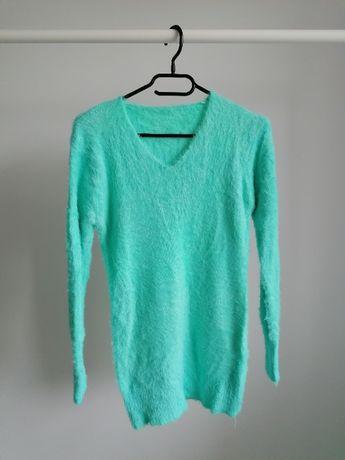 Sweter S/M moher damski zielony