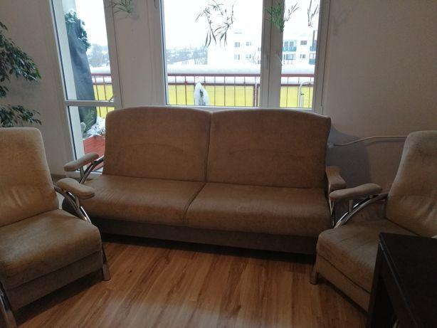 Zestaw wypoczynkowy kanapa sofa wersalka i 2 fotele
