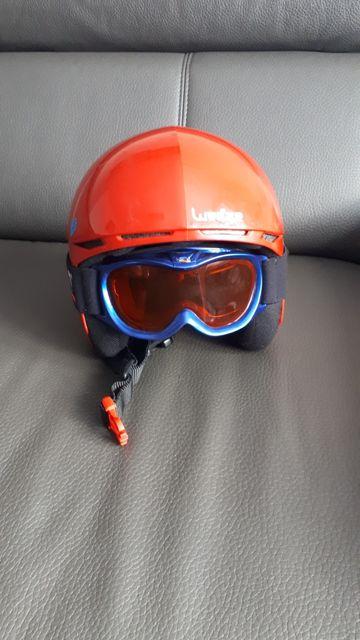 Kask narciarski dziecięcy + gogle