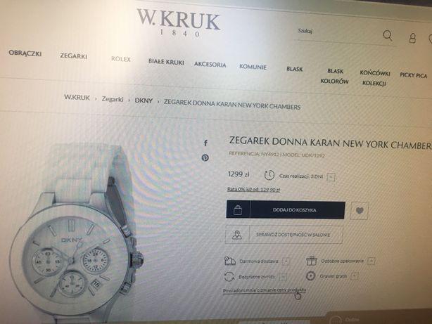 Zegarek Donna Karan New York Chambers biały bransoleta