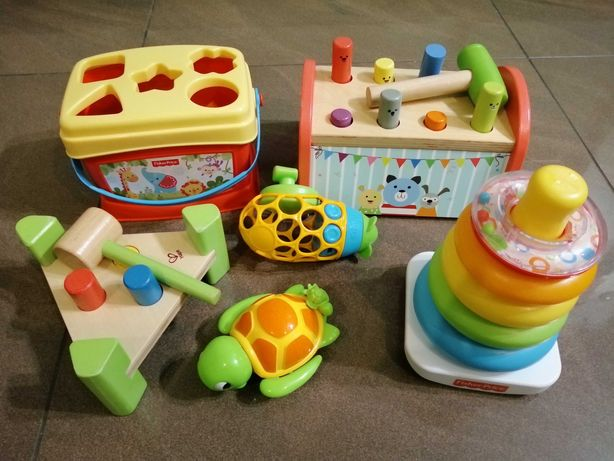 Firmowe zabawki dla dzieci 0-3 lat przebijak drewniane piramida fisher