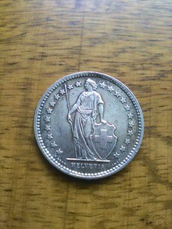 moneta ,monety, 1/2 franka , Szwajcaria, srebro