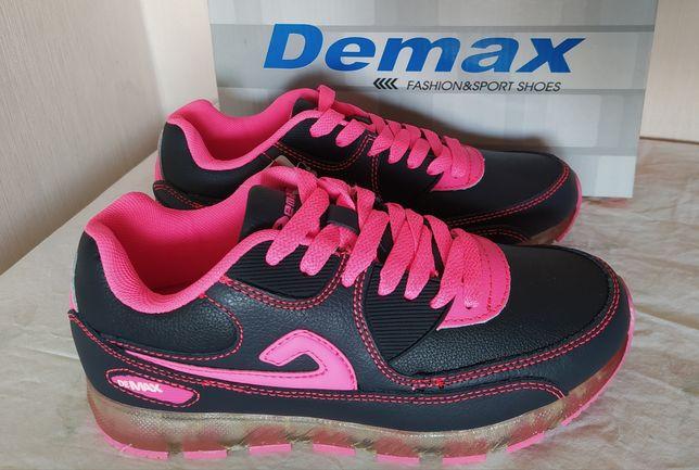 Распродажа! Кожаные кроссовки Demax c малиновой отделкой р. 36-40