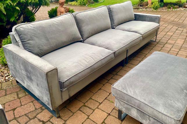 Piękny ekskluzywny komplet wypoczynkowy sofa 296 cm fotel podnóżek