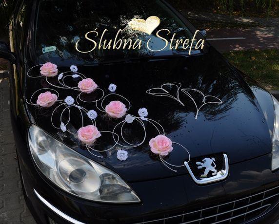 Dekoracja na samochód, pudrowy róż, dekoracja auta ślubnego