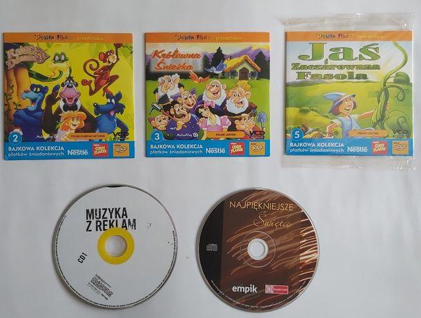 5 płytek CD filmy dla dzieci i muzyka świąteczna i reklamowa
