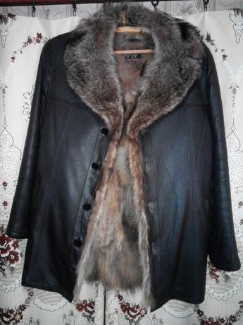 Натуральное мужское кожаное пальто с воротником