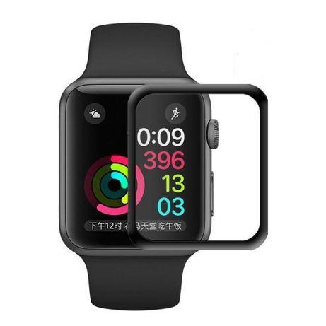 Защитное Стекло 3D Полный клей Apple Watch 38мм/42мм/40мм/44мм черное