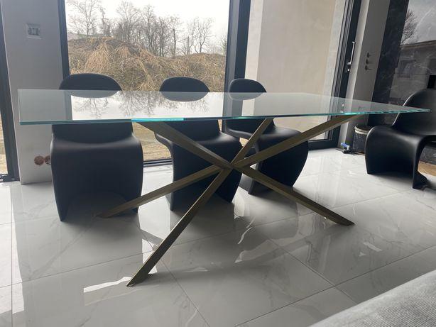 Stół szklany z nadrukiem marmuru