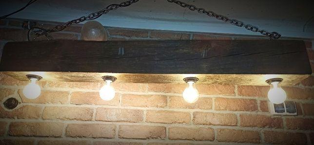 Lampa wisząca ze starej belki typu loft homemade +żarówki w komplecie)