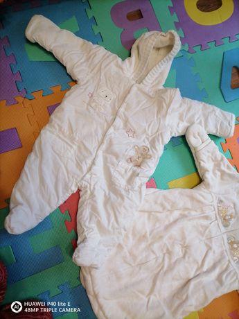 Białe ciepłe Kombinezony dla niemowlaka