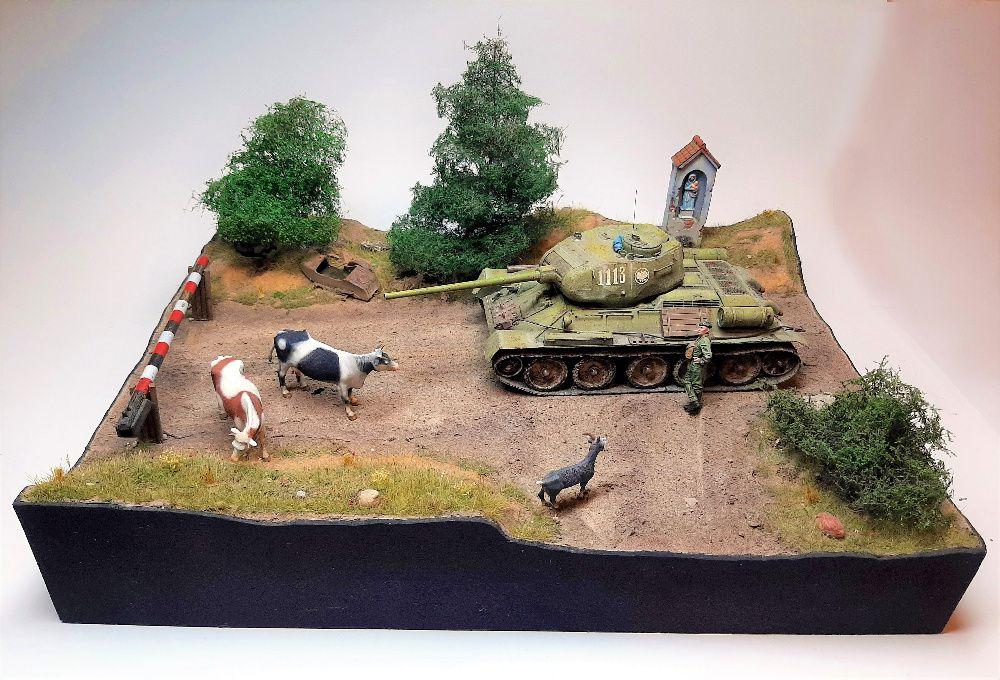 T-34/85 - diorama, gotowy model - 1:35 - Tamiya, Miniart, Masterbox Łódź - image 1