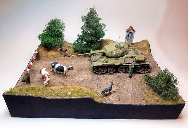 T-34/85 - diorama, gotowy model - 1:35 - Tamiya, Miniart, Masterbox