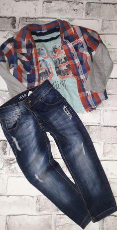 Zestaw ubranek rozm 98 spodnie koszula koszulka