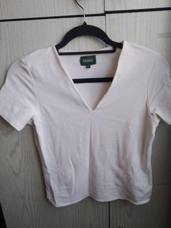 Biała bluzka z krótkim rękawem - rozmiar XS/S