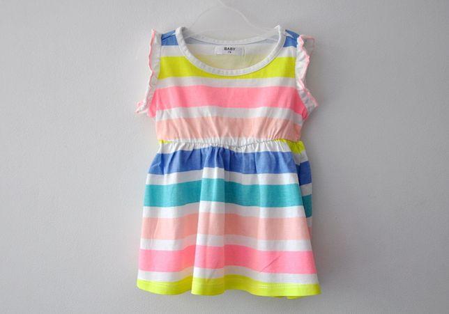 PEPCO bawełniana sukienka paski 74cm 6-9m %%%