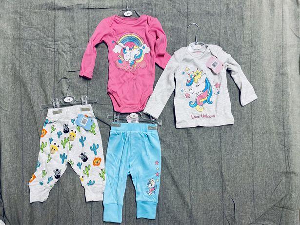 Ubranka zestaw 74 - 80 dla niemowlaka dziecka spodniepidżama  koszulka