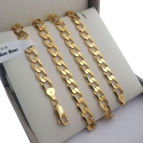 Masywny srebrny łańcuszek pancerka 65 cm złocony 24 karatowym złotem