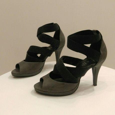 #PEEP TOE Czółenka szare szpilki 37 sandały botki sztyblety półbuty