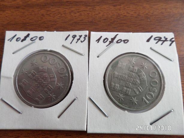Moedas de 10$00 de 1973, 1974 e 1987