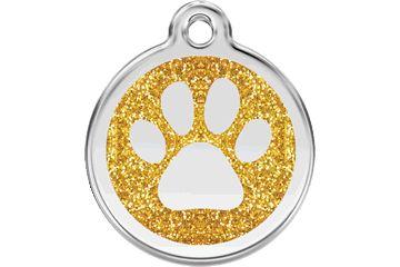 Адресник Red Dingo Glitter 30мм. Paw Print Gold