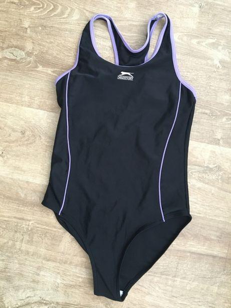Jednoczęściowy czarny fioletowy strój kąpielowy Slazenger 13 lat 158cm