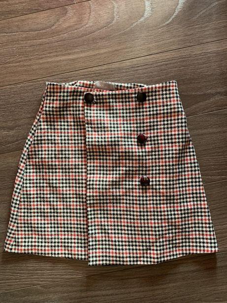 Nowa trapezowa spódnica w kratę z guzikami Asos. Spódnica w kratę
