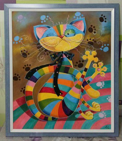 """Интерьерная картина в детскую комнату """"Радужный кот"""""""